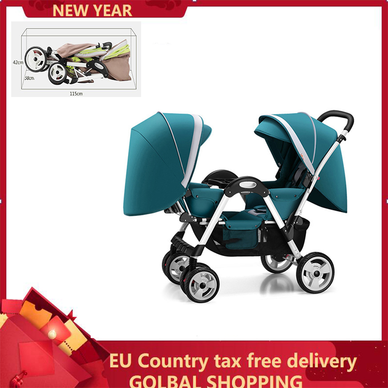Twin baby strollers for boy and girl can sit reclining double face to face with shock folding trolley EU Country Shipping By UPS