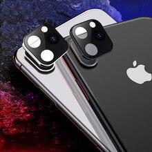 Pegatina metálica modificada lente de la Cámara segundos de cambio cubierta para iPhone X XS MAX Cámara falsa para iPhone 11 Pro Max Protector de vidrio