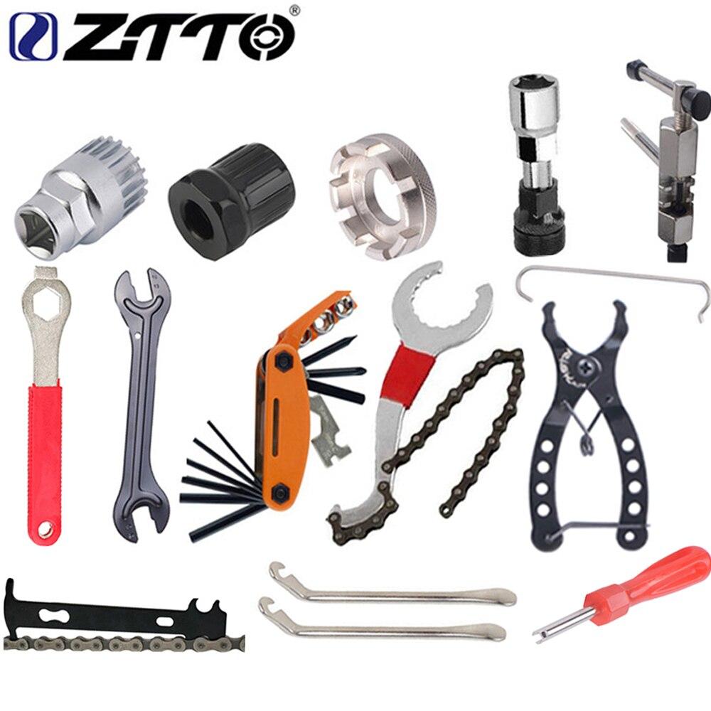 Kit de herramientas de reparación de bicicletas ZTTO, extractor de casetes, herramienta de extracción de soporte inferior, herramienta de enchufe, cortador de cadena, manivela, herramienta de extracción