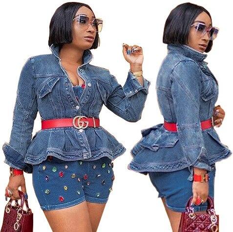 Women Trendy Stylish Button Ruffles Denim Vintage Jacket  Out Wear