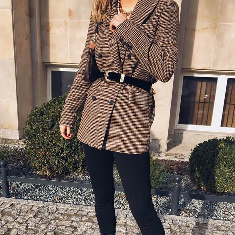 2020 Autumn Women Blazer Casual Brown Houndstooth Plaid Print Blazers Female Double Breasted Jacket Office Lady Outwear Blazer