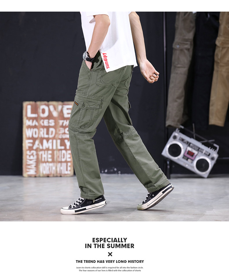 2020 Mens Military Cargo Pants Multi-pockets Baggy Men Cotton Pants Casual Overalls Army Oustdoor