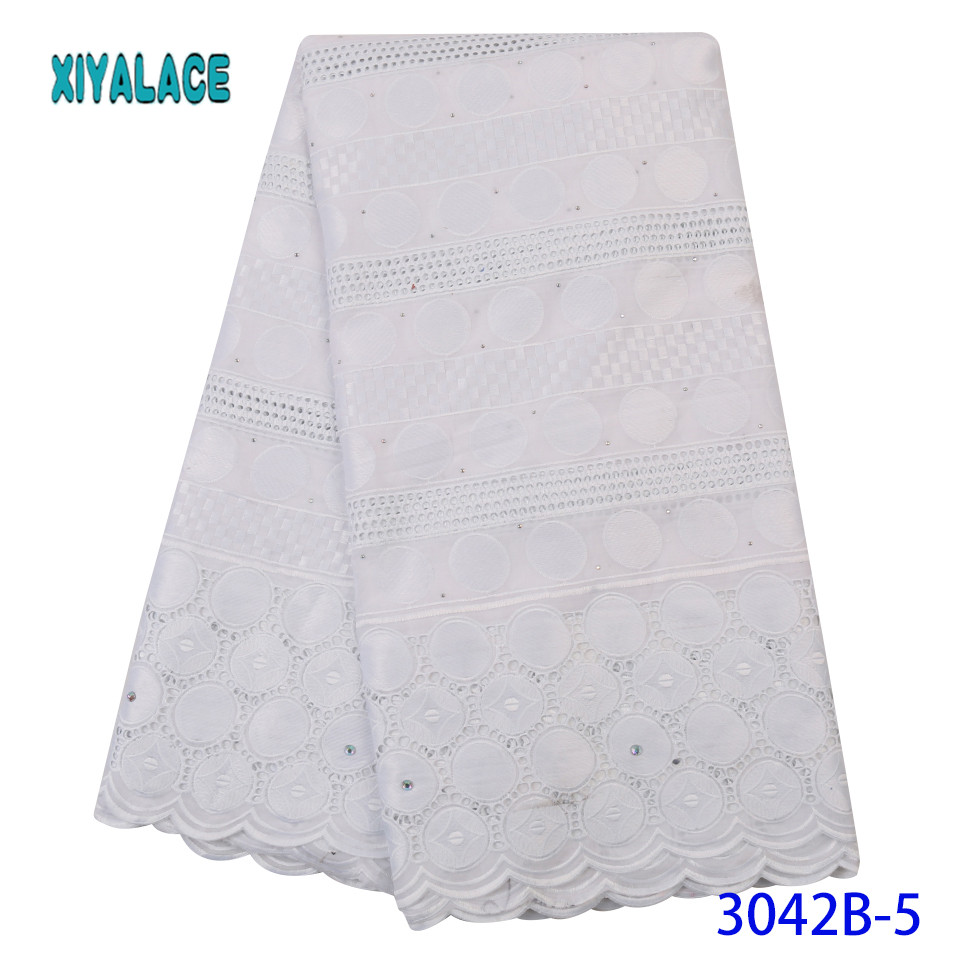 Latest Pure White African Net Lace Fabric For Wedding Dress Embroidered Nigerian Lace Swiss Voile Lace In Switzerland YA3042B-5