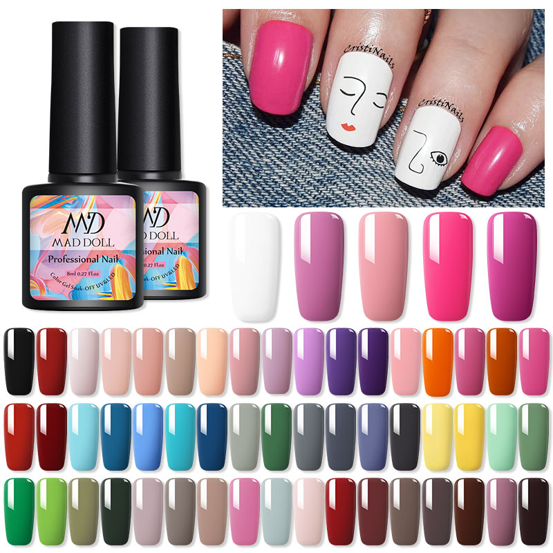 1 Bottle 8ml MAD DOLL Spring Series Color Gel Polish Soak Off UV Gel Manicuring Nail UV Gel Polish Nail Art DIY Nail Art Design