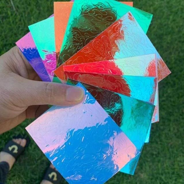16 unids/set holográfica lámina de uñas llama diente de león Panda bambú Holo uñas arte transferencia pegatina agua Deslizamiento uñas arte calcomanías