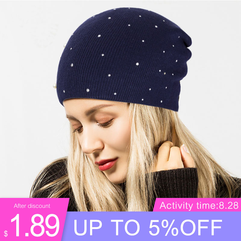Hat Women Bonnet Beanies Cotton-Caps Pearl Skullies Knitted Warm Female Autumn Winter