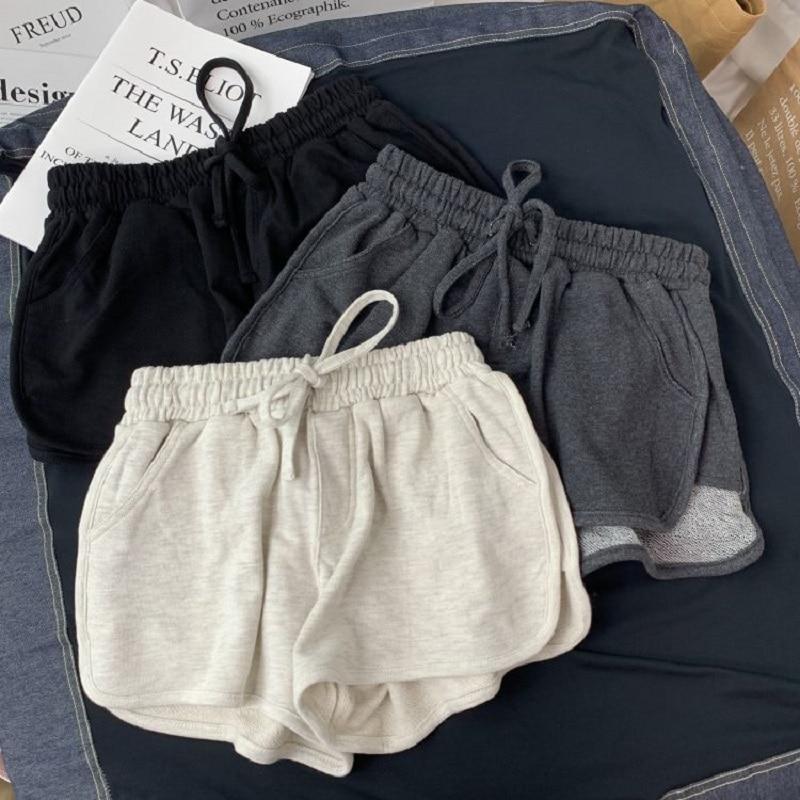 Summer Gray Shorts Women Fashion Ladies Elastic Waists Short Pants Girl Casual Cotton Shorts Black Home Shorts For Female S-XL