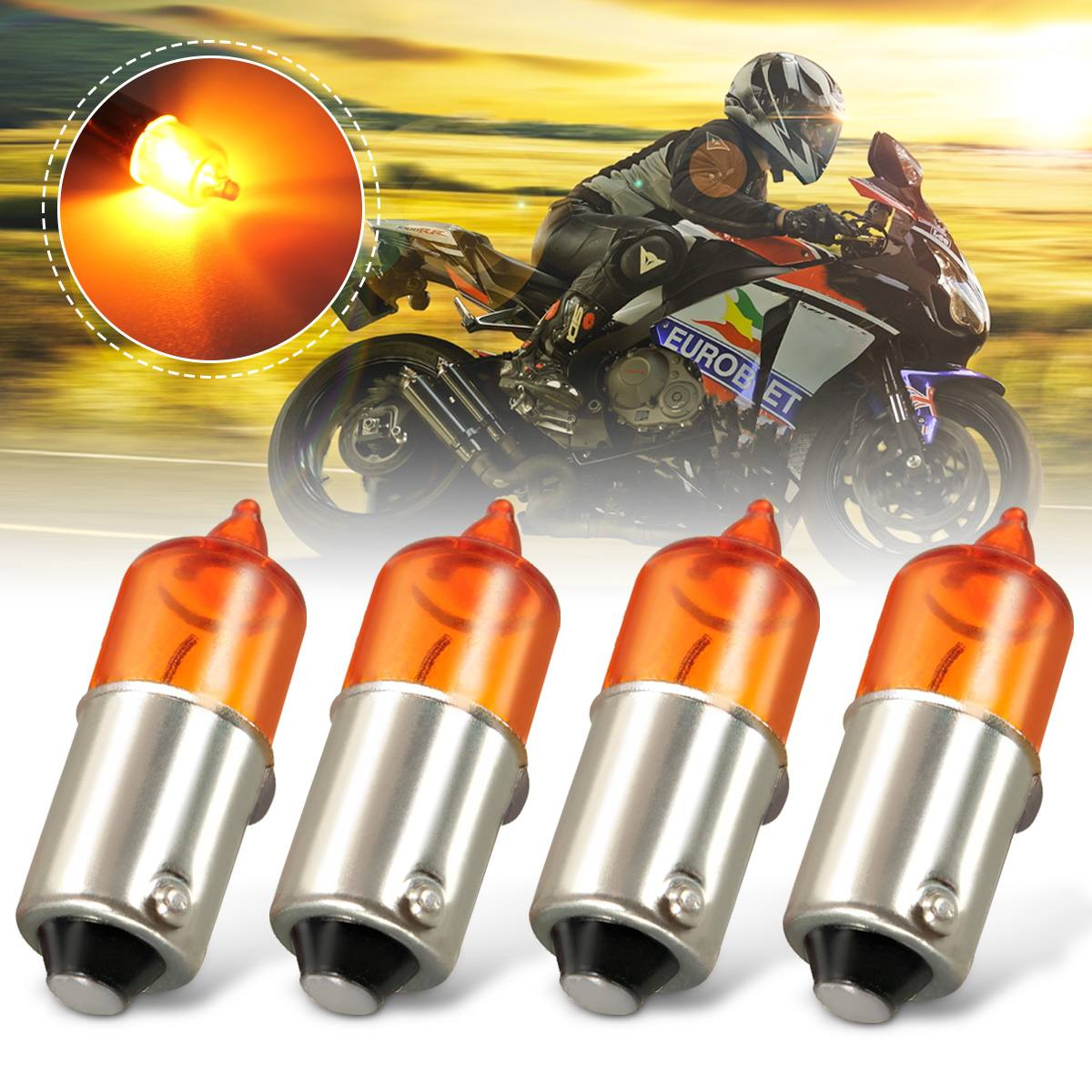 4pcs 12V 23W Amber Universal Mini Miniature Turn Signal Indicator Light Bulbs For Auto Car Motorcycle Motorbike Scooter