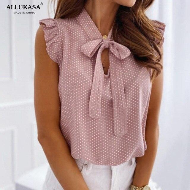 Blouses Short Sleeves Shirt Summer Bow Lace Up Polka Dot Female Ruffle Pullover Vintage Blusa Muyogrt   shirts  womens sexy tops 3