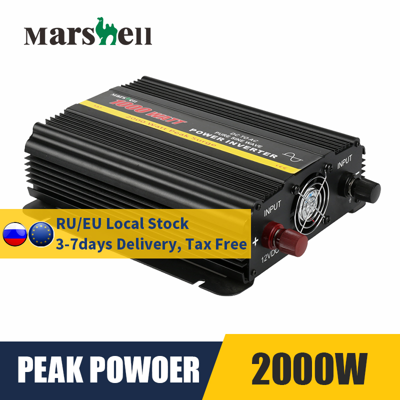 Inversor de onda de seno puro dc 12v para ac 110v/220v 1000w max 2000w conversor de potência do transformador de tensão inversor de carro solar
