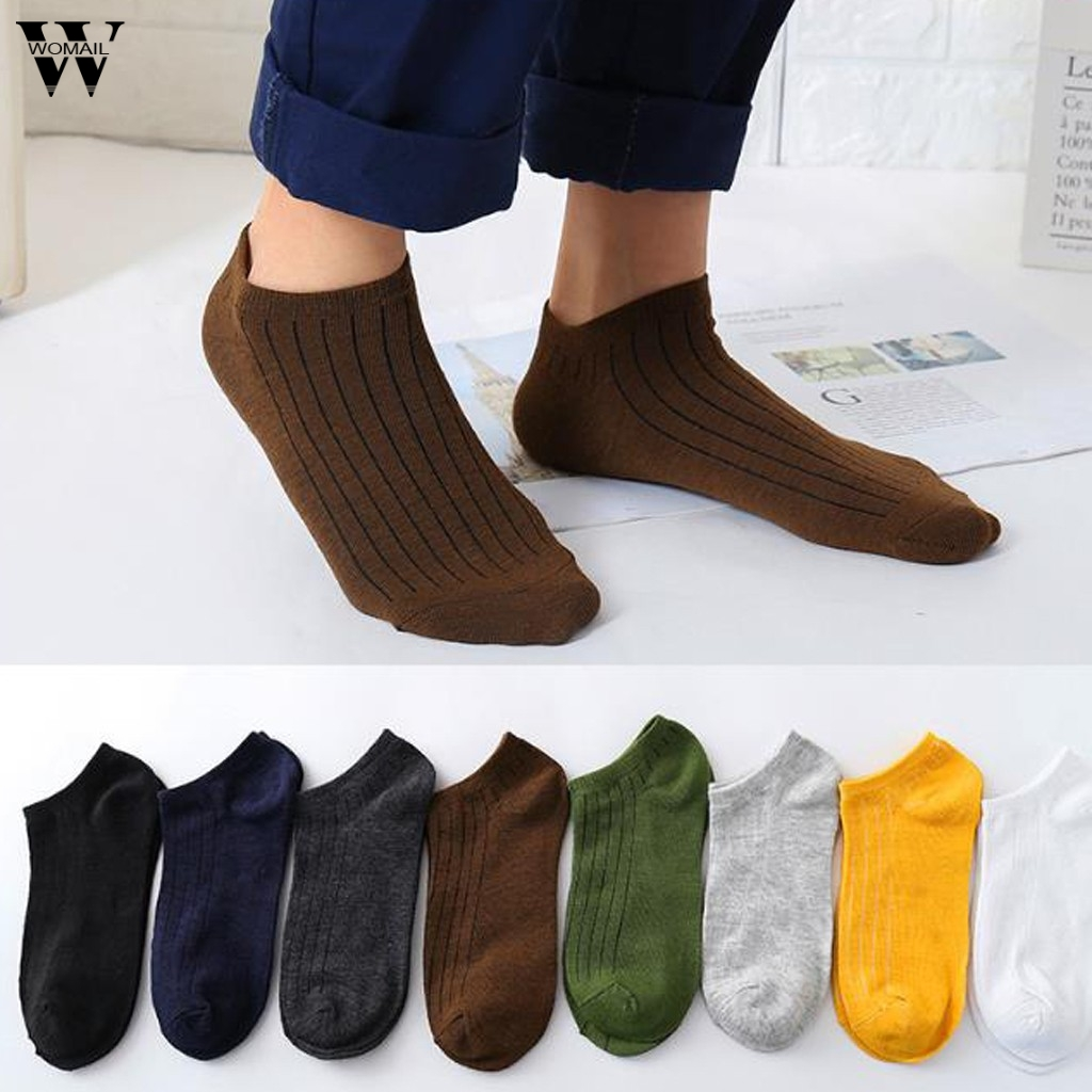 Hot Unisex Men & Women Socks Comfortable Stripe Summer Thin Cotton Sock Slippers Short Men's Ankle Socks