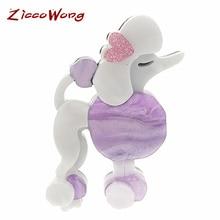 ZiccoWong Acrylic Cartoon Sheepdog Brooch Pins For Women Kids Cute Dog Animal Pin Coat Dress Bijouterie Broches Gift
