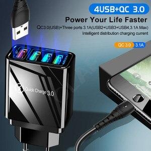 "Image 2 - 48W מהיר מטען 3.0 USB מטען עבור סמסונג A50 A30 iPhone 7 8 Xiaomi mi9 Tablet QC 3.0 מהיר קיר מטען ארה""ב האיחוד האירופי בבריטניה Plug Adapte"