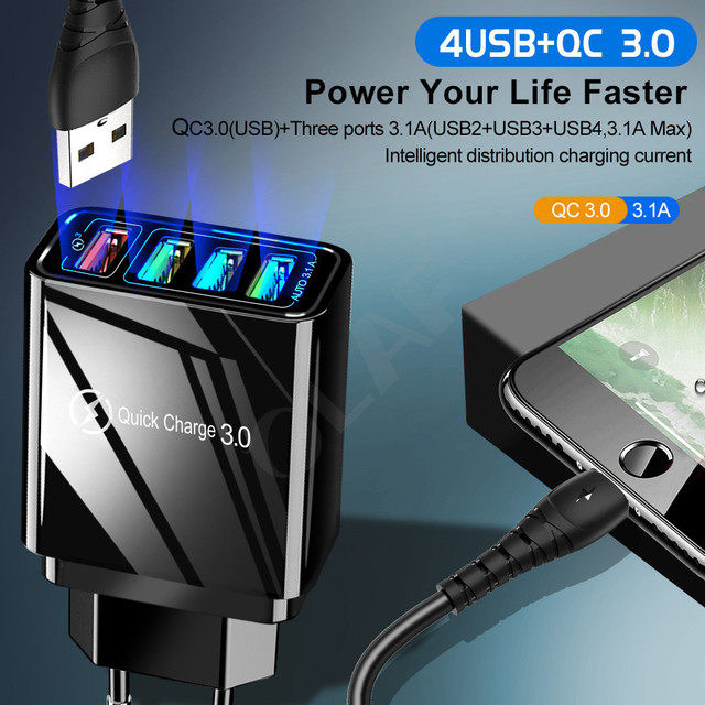48W Quick Charger 3.0 USB Charger for Samsung A50 A30 iPhone 7 8 Xiaomi mi9 Tablet QC 3.0 Fast Wall Charger US EU UK Plug Adapte | HOTSHOPDIRECT