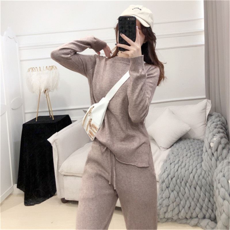 CBAFU Knitted 2 Piece Set Women Tracksuit Long Sleeve Knit Pullovers Sweater Set Elastic Waist Pants Suit Sport Clothes P708