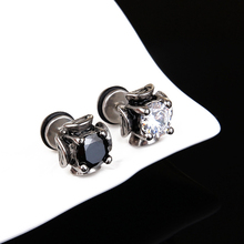 Classic 8mm Clear/Black Round Cubic Zircon Stud Earrings For Male Stainless Steel Alloy Engagement Party Accessories