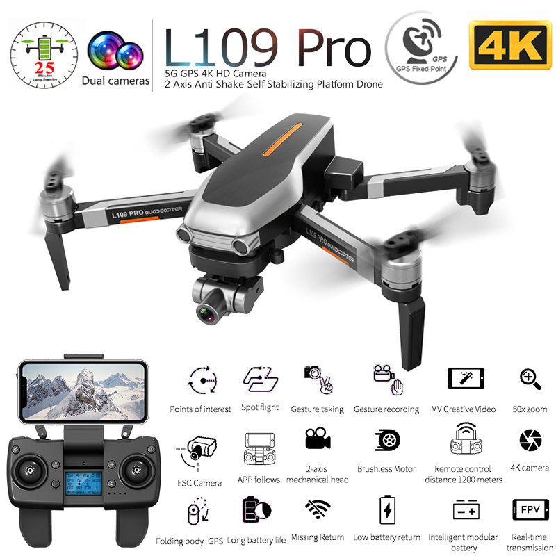 L109 PRO GPS Drone With 2-axis Gimbal Anti-shake Selfstabilizing Wifi FPV 4K Camera Brushless Quadcopter VS SG906 PRO F11 ZEN K1