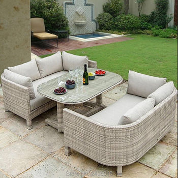 3 pcs Outdoor Patio Furniture dining set , metal Frame coversation for balcony all-weather ,rattan wicker chat - discount item  5% OFF Outdoor Furniture