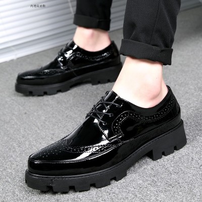 Men Oxford Shoes Leather Men's Dress Luxury Brand Business  Brogue Shoes Party Formal Shoes With Thick Bottom