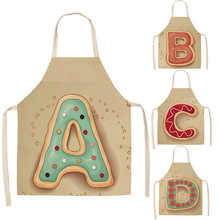 1Pcs Letter Pattern Kitchen Apron Sleeveless Cotton Linen Kids Aprons For Cooking Baking