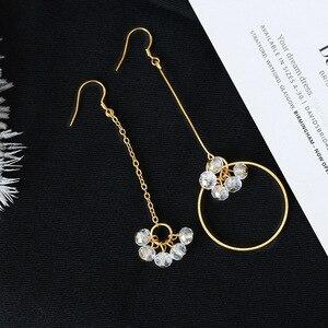 LATS New Tassel Crystal Earrings Dazzling Flowers Asymmetric Earrings for Women Hoop Earings Fashion Jewelry(China)