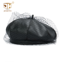 Black Leather Beret French Hat With Veil Beret Beanies Cap F