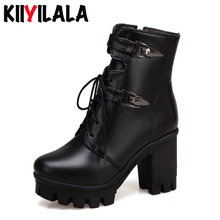 Kiiyilala Square Heels Platform Boots Women Cross-tied Ankle Boots With Side Zipper Short Plush Warm Round Toe Winter Booties