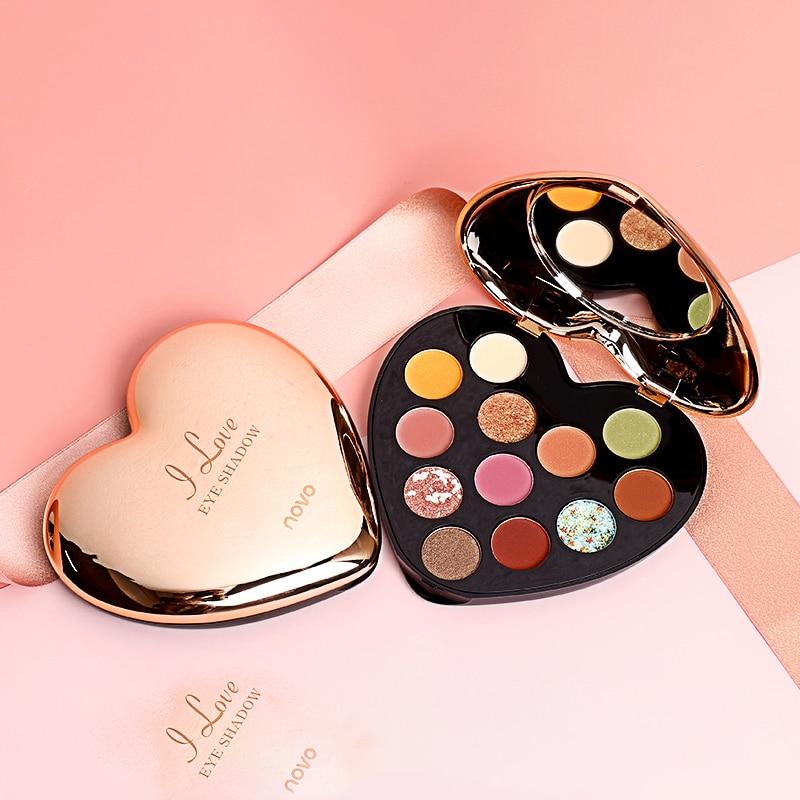 NOVO 12 Color Heart-Shaped Eyeshadow Palette Beauty Glazed Matte Glitter Eyeshadow Palette Lasting Makeup Eyeshadow
