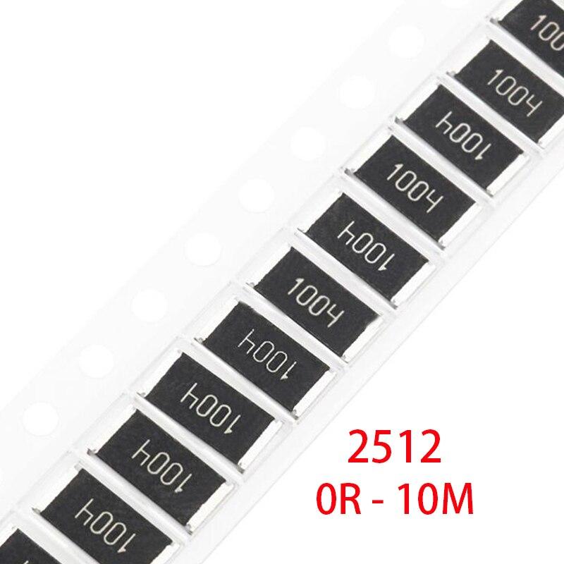 100 шт. 2512 5% 1 Вт SMD чип резистор Резистор 0R-10 M 0 10 100 220 470 Ом 0R 10R 100R 220R 470R 10 1K 2,2 K 4,7 K 100K 1M 10 M