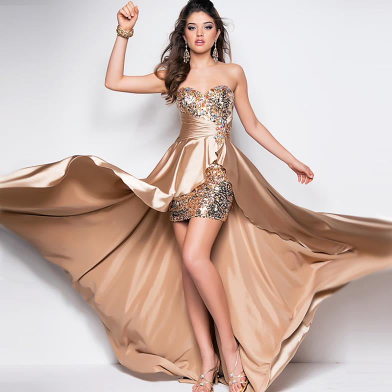 Free Shipping New Arrival 2014 Fashion Bridal Brides Maid Dresses Low-high Train Red Champagne Sexy Luxury Crystal Prom Dresses