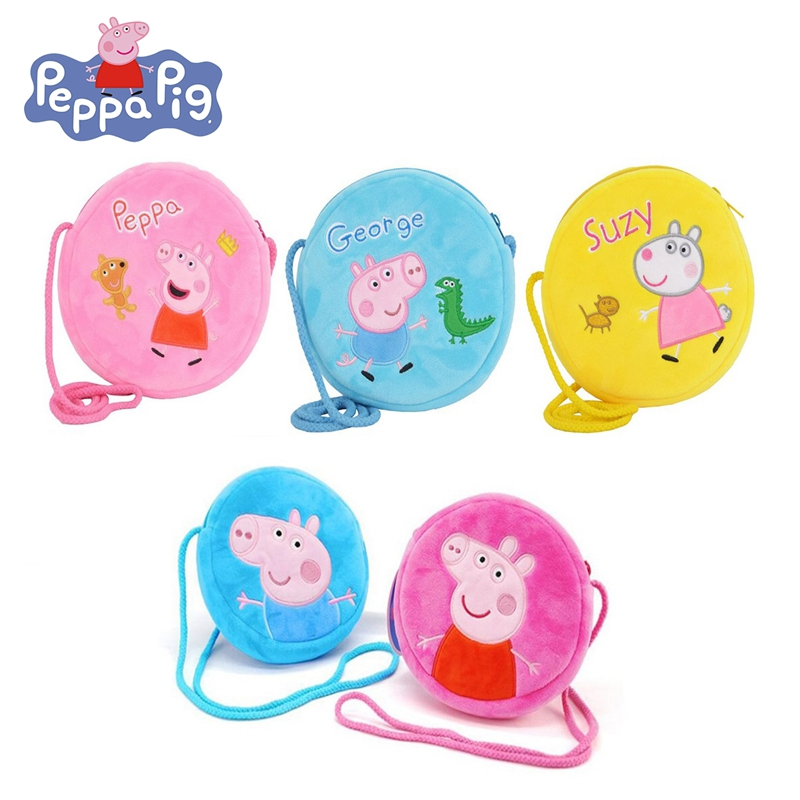 Peppa Pig Original Peppa / George Plush Toys Round Pocket Purse Shoulder Bag / Crossbody Bag Plush Bag For Boys And Girls