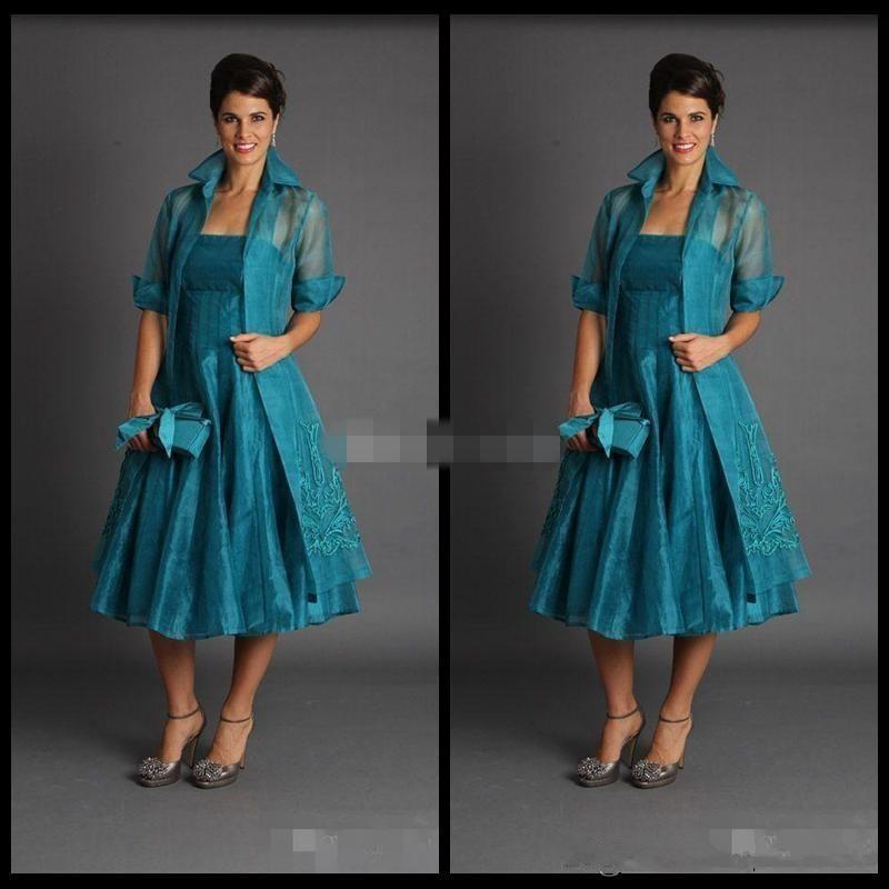 Plus vestido de madrinha 2019 Short Mother of The Bride Dresses with jacket Tea Length Green Suits Evening Gowns Cheap Organza