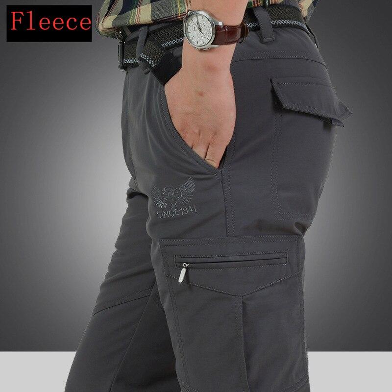 Warm Fleece Winter Pants Thicken Men Zipper Waterproof Work Casual Pants Men Military Tactical Cargo Pants Male Trousers 4XL 1