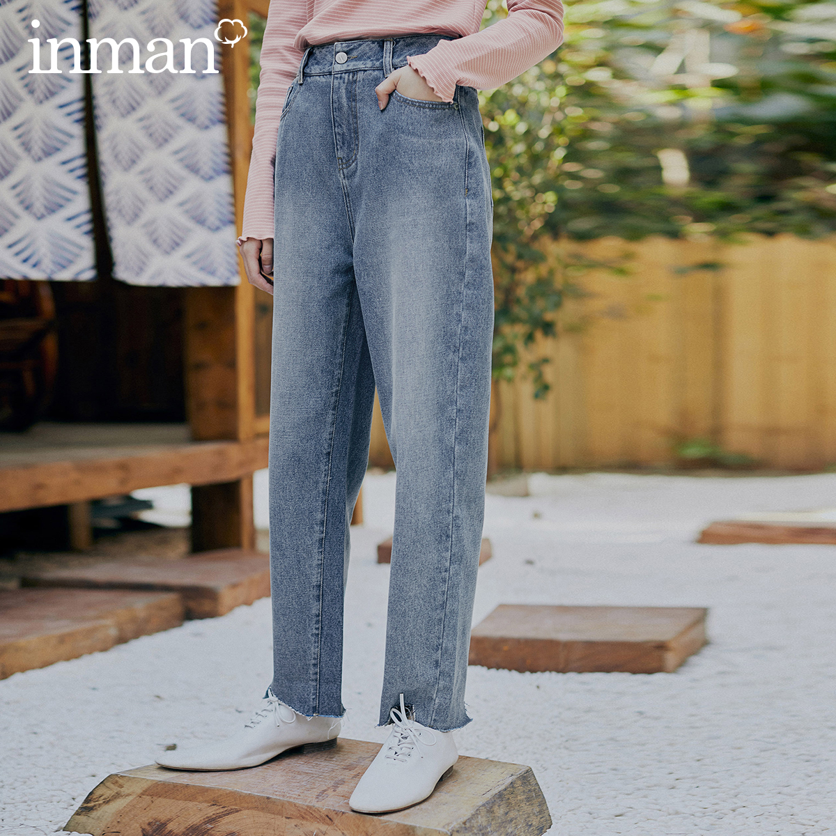 INMAN 2020 Spring New Arrival Literary Pure Cotton High Waist Loose Wash Slimming Straight Cylinder Pant Jeans