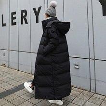 Parka casaco extra maxi longo inverno jaqueta feminina com capuz grande plus size feminino senhora blusão outwear roupas acolchoado