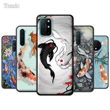 Custodia per pesci giapponese Koi per OnePlus 8 Nord N100 N10 7 8T 7T Pro 5G Z Cover morbida per telefono nera per 1 + 8Pro 7Pro Silicone Coque