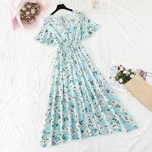 2020 New Floral Women Dress bohemian Sexy V-neck A-Line Short sleeves Chiffon Dresses summer Vintage beach Print Long Dress