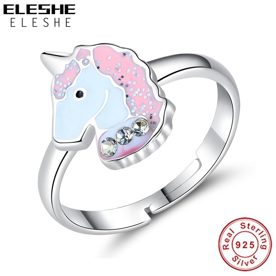 ELESHE Authentische 925 Sterling Silber Feine Ringe für Mädchen Kinder Kinder Rosa Emaille Nette Einhorn Finger Ringe Partei Schmuck Geschenk