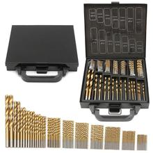 99pcs High Speed Steel Titanium Plated Twist Drill DIY Home Use Metal HSS Spiral Drill Bit For Wood Drilling