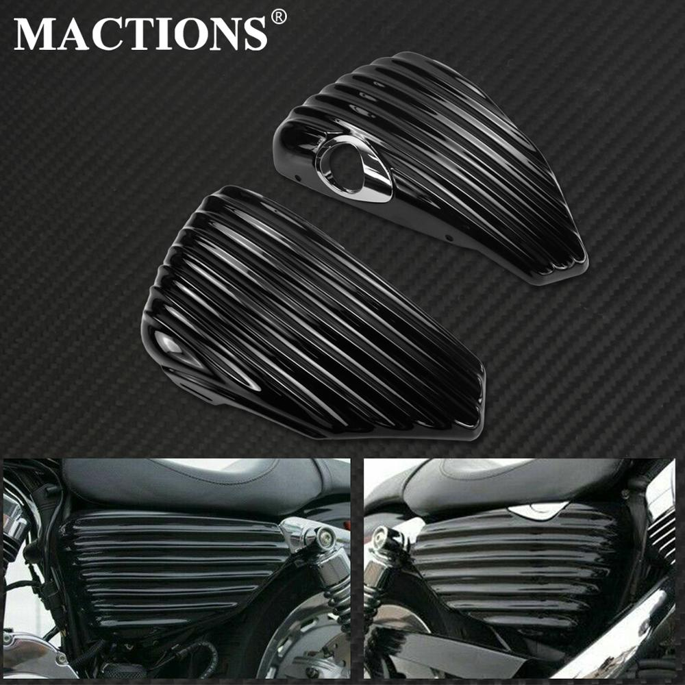Motorcycle Black Left Right Side Fairing Battery Cover Gas Tank Guard Fairing Stripe For Harley Sportster 883 1200 XL 2004-2013