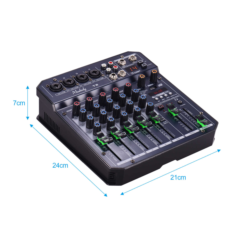 Muslady T6 ポータブル 6 チャンネルサウンドカードミキシングコンソールオーディオミキサー内蔵 16 dsp 48 48v ファンタム電源サポート bt 接続