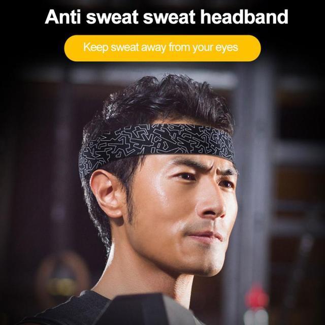 Women/Men Cotton Sweat Sweatband Yoga Gym Stretch Headband Anti-Slip Breathable Fitness Hair Band Sport Sweat Guiding Belt 5