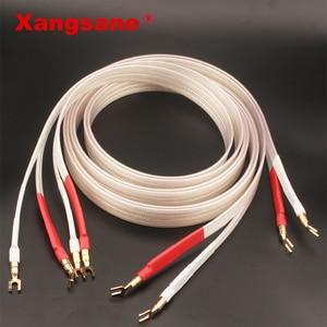 Image 1 - Xangsane fever grade OCC posrebrzany kabel głośnikowy hifi micro space audio kabel wtyczka bananowa Y wtyczka wtyczka bananowa bananowa Y Y