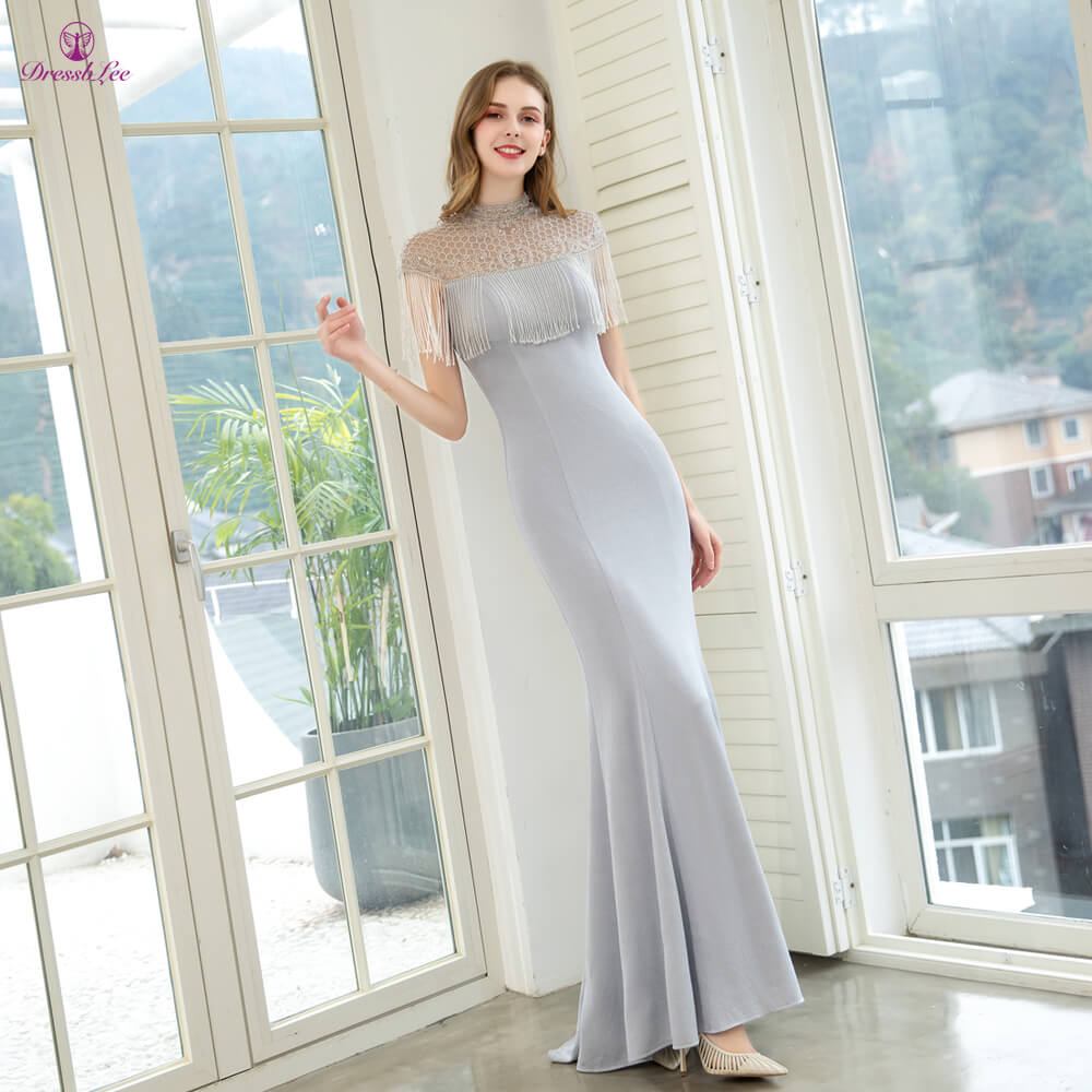 DressbLee Silver Prom Dress Crystal Beaded Mermaid Prom Dresses High Collar Short Sleeves Formal Party Gown Vestido-de-festa