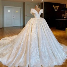 Gorgeous Ball Gown Wedding Dresses  Off The Shoulder  3D Appliques Lace Up Back Bridal Dress Long Train robe de mariee gorgeous new first communion dress lace up off the shoulder appliques key hole ball gown flower girls dress for wedding