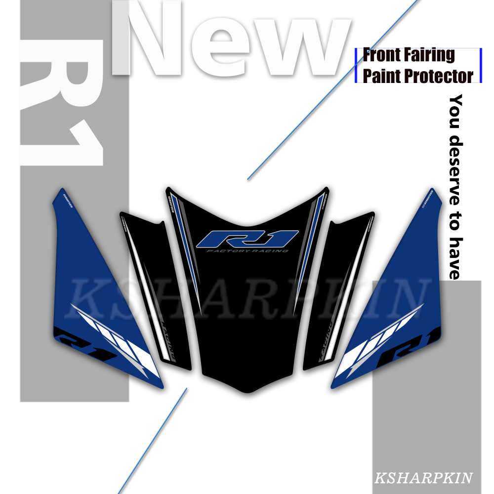 Motorcycle Front Fairing 3D Gel <font><b>Sticker</b></font> Protector Number Board Moto Accessories decoration decal for <font><b>Yamaha</b></font> <font><b>R1</b></font> 2018 2019 image