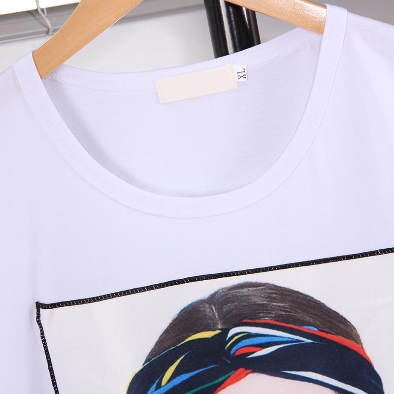 moda estilo ocidental solto tamanho grande T-shirt