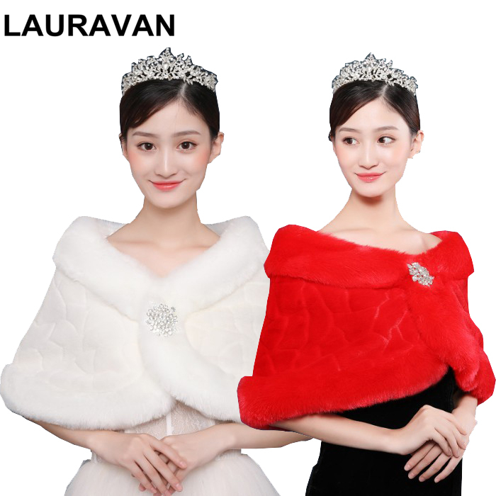 Red Ivoy Wedding Bolero Outerwear Accessories Wrap Bride Formal Winter Cape Bride Fur Shawl Wedding Jackets Wrap With Brooch