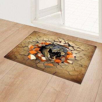 Cotton Entrance Rug 3D Dinosaur Printed Pattern Floor Mat Non Slip Carpet Soft Flanner Doormat Living Room Bedroom Dirt Trapper