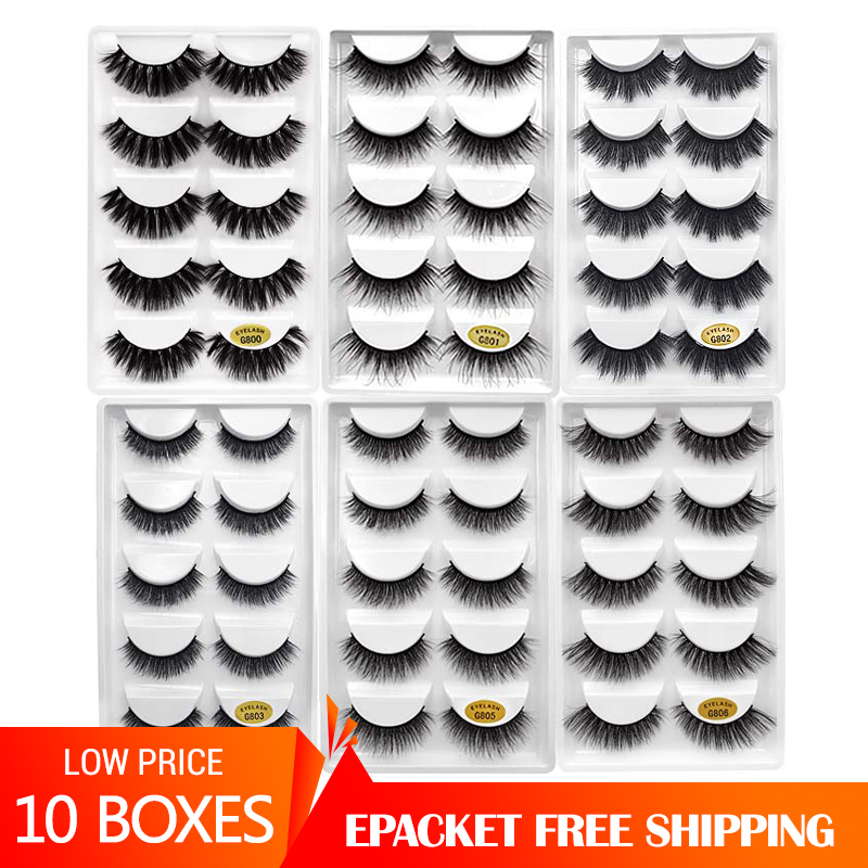 YSDO 10 Lots 3d Mink Lashes Eyelash Extension Mink Eyelashes 50 Pairs Cruelty Free Makeup False Eyelashes Wholesale Cilios G8
